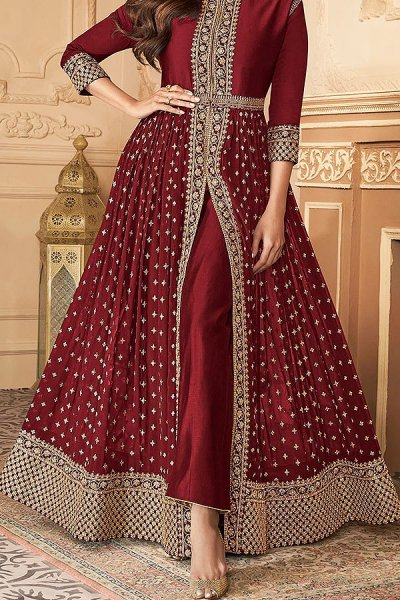 Maroon Zari Embroidered Anarkali Suit in Georgette with Dupatta