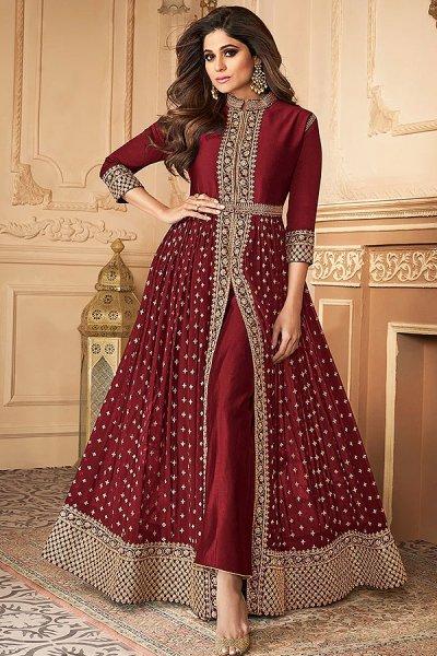 Maroon Zari Embroidered Anarkali Suit in Georgette