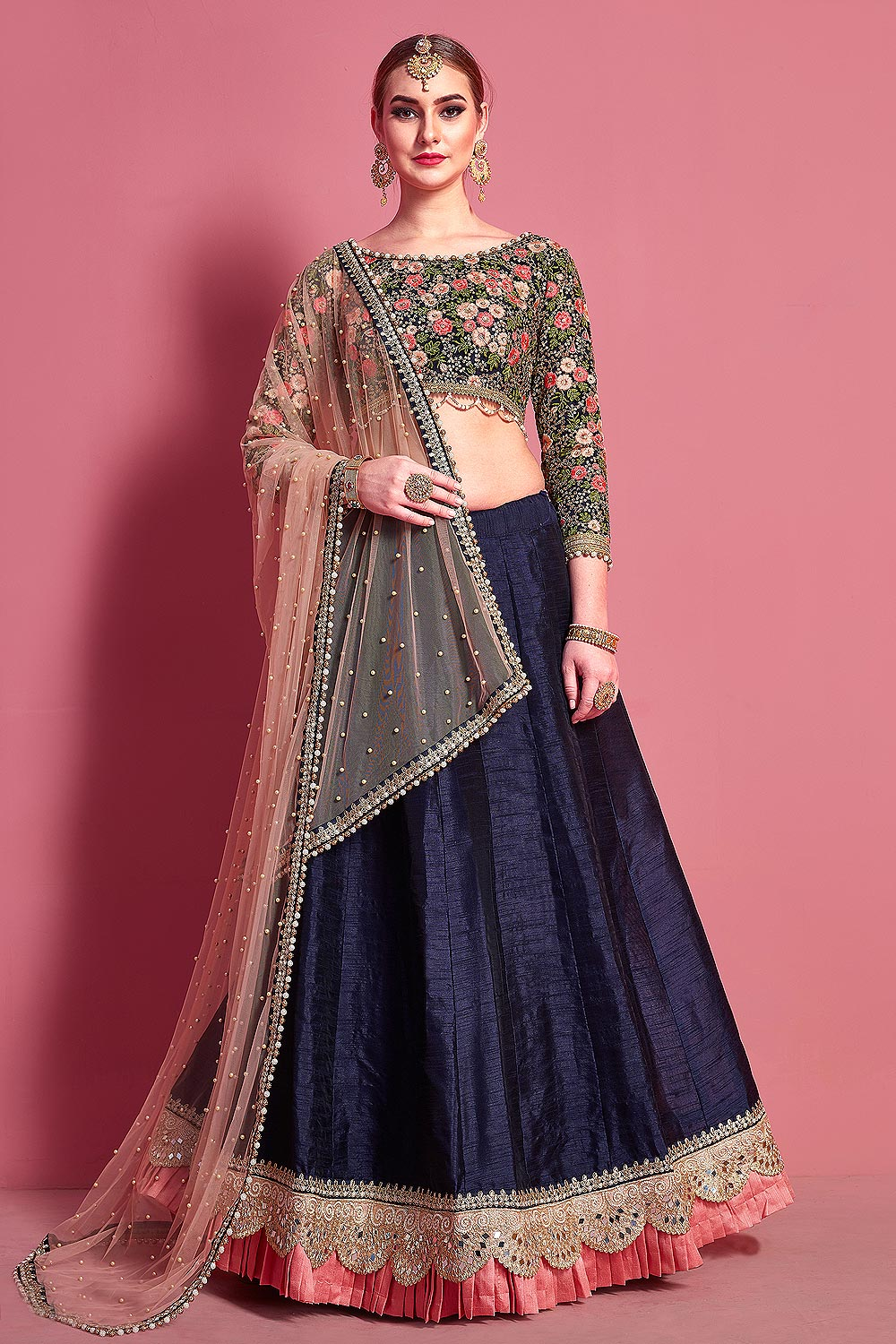 Resham Embroidered Silk Lehenga Choli with Pearl Detailing