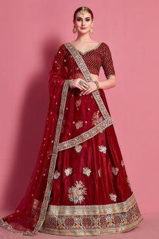 Velvet Zari Embroidered Lehenga Choli in Red