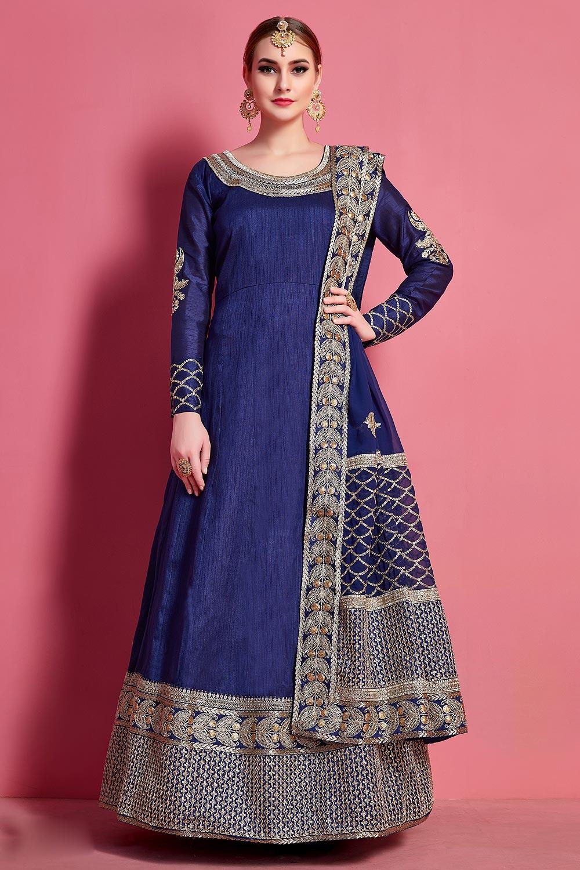 Navy Blue Silk Designer Anarkali Suit with Georgette Dupatta