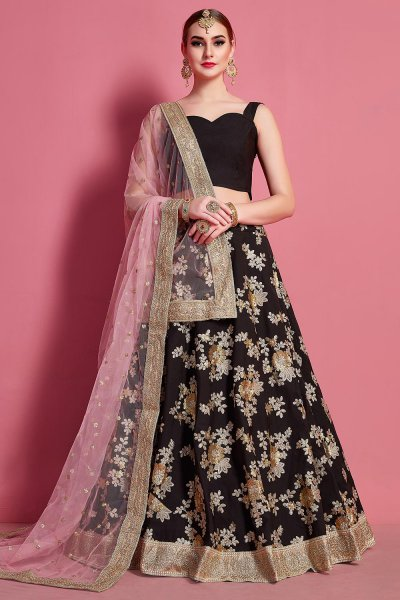 Black Silk Lehenga Choli with Floral Zari & Sequin Work With Baby Pink Net Dupatta
