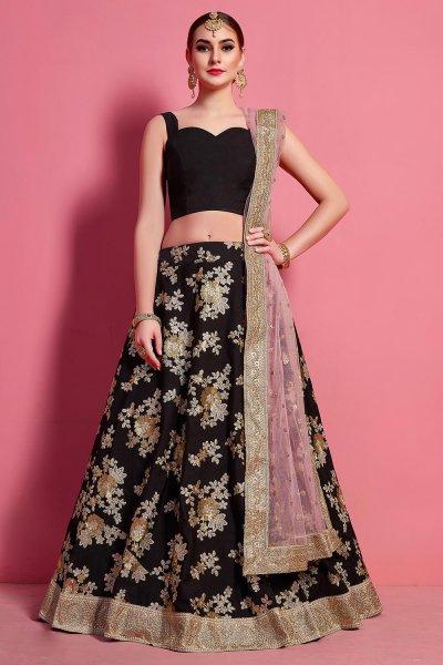 Black Silk Lehenga Choli with Floral Zari & Sequin Work With Baby Pink Net Dupatta