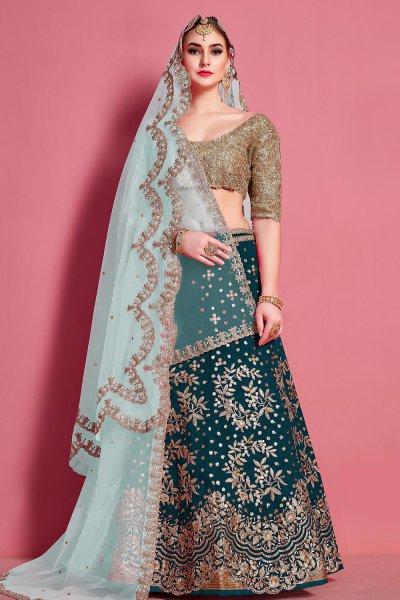 Teal Blue Sequin Embellished Silk Lehenga Choli