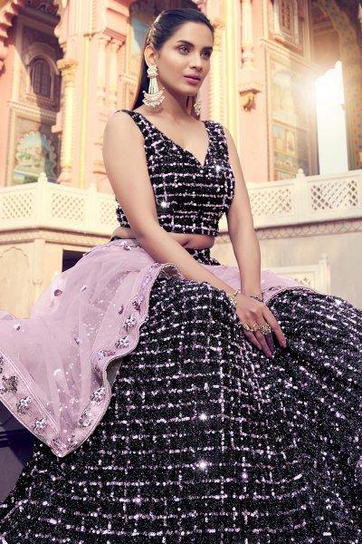 Sequin Embellished Stylish Lehenga in Soft Faux Fur