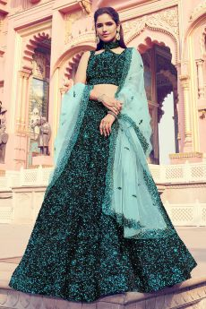 Sequin Embellished Stylish Lehenga in Soft Faux Fur