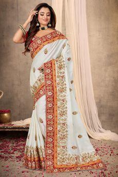 Satin Silk Zari Embroidered Saree
