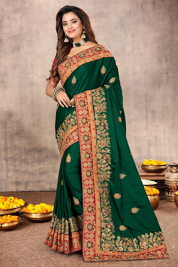Satin Silk Zari Embroidered Saree