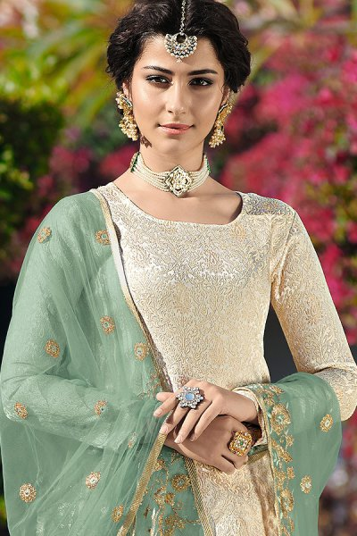 Brocade Off White Churidar Suit