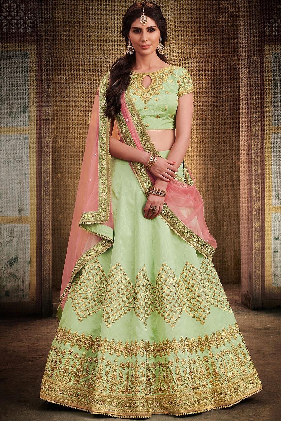 Pista Green Handloom Silk Lehenga Choli with Net Dupatta