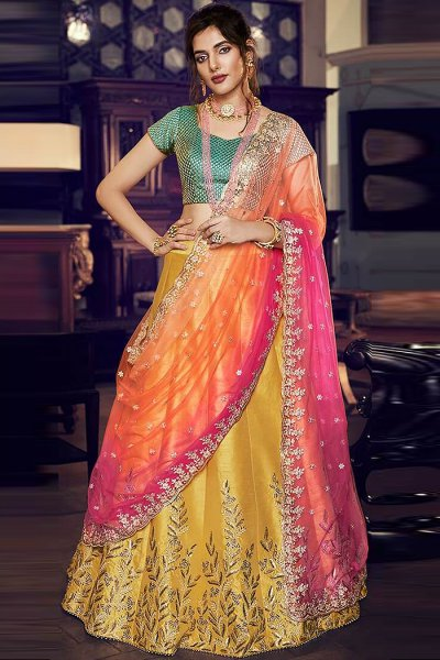 Multicolored Party Wear Silk Lehenga