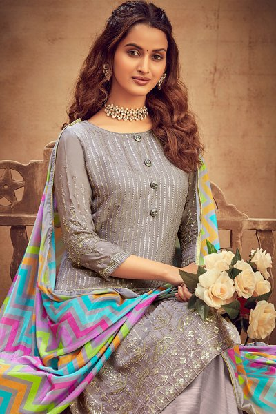 Grey Intricate Embroidered Chinon Palazzo Suit