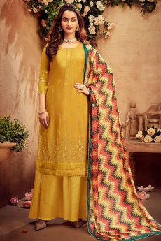 Mustard Intricate Embroidered Chinon Palazzo Suit