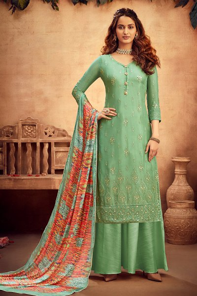 Pastel Green Intricate Embroidered Chinon Palazzo Suit