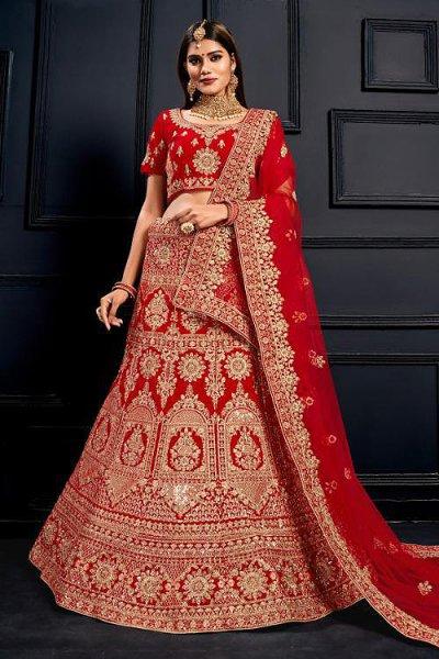 Intricate Zari Embroidered Velvet Bridal Lehenga Choli