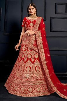 Intricate Zari Embroidered Velvet Bridal Lehenga Choli