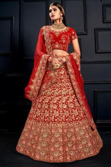 Beautiful Red Velvet Zari Work Bridal Lehenga Choli