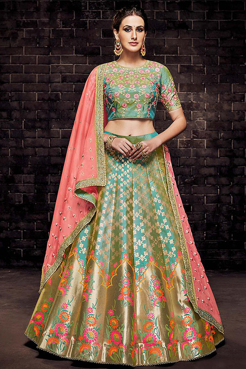 Brocade Silk Resham Embroidered Lehenga Choli