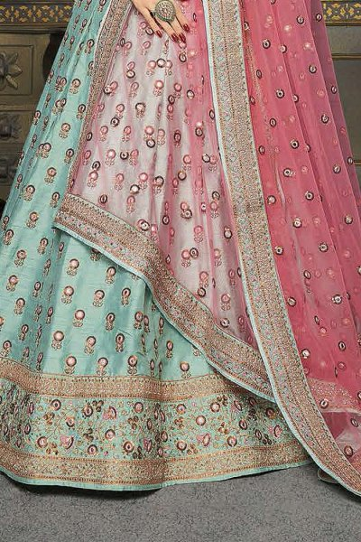 Pastel Blue Silk Zari Embroidered Lehenga Choli