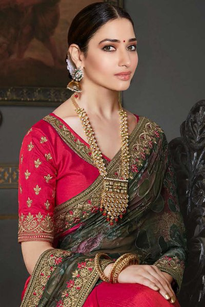 Designer Silk Saree with Printed Dupatta
