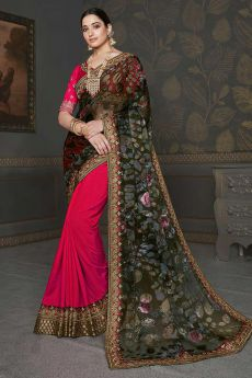 Designer Silk Saree with Printed Dupatta