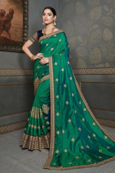 Bottle Green Designer Silk Saree