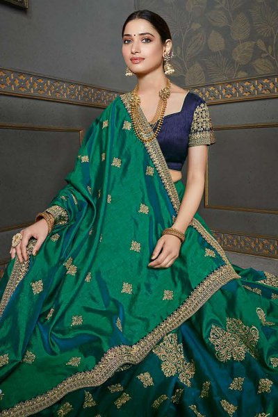 Bottle Green Designer Silk Saree