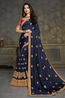 Dark Blue Designer Silk Zari Embroidered Saree