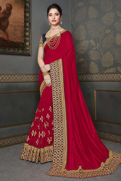 Crimson Red Zari Embroidered Silk Saree