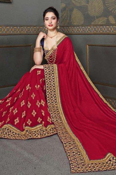 Crimson Red Zari Embroidered Silk Saree