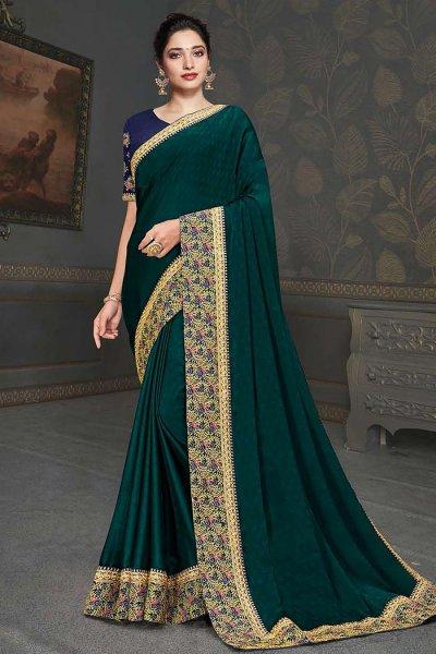 Teal Designer Silk Saree