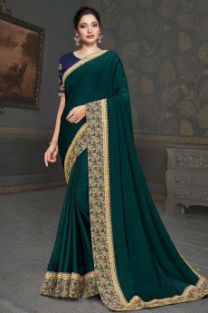 Teal Designer Silk Saree