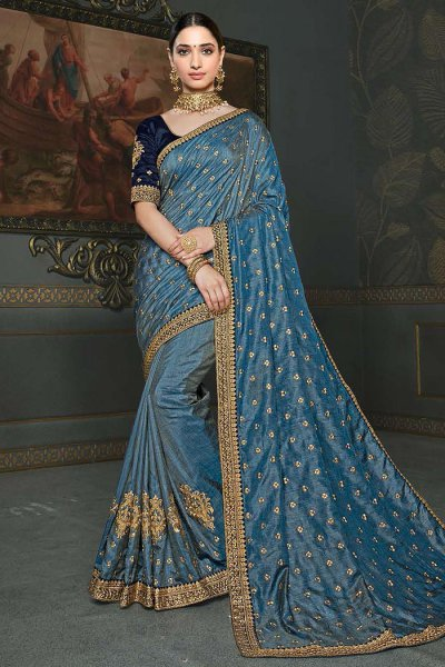 Steel Blue Designer Silk Saree