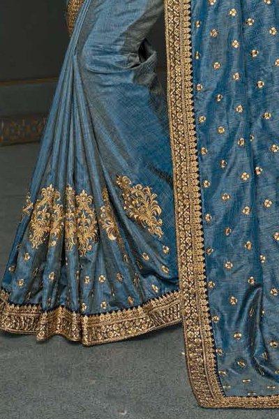 Steel Blue Designer Silk Saree