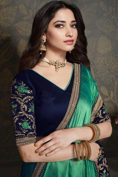 Sea Green Designer Silk Saree