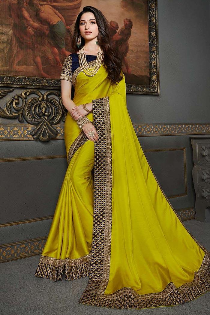 Lime Green Designer Silk Saree