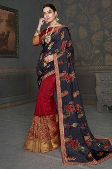Designer Red Silk Saree