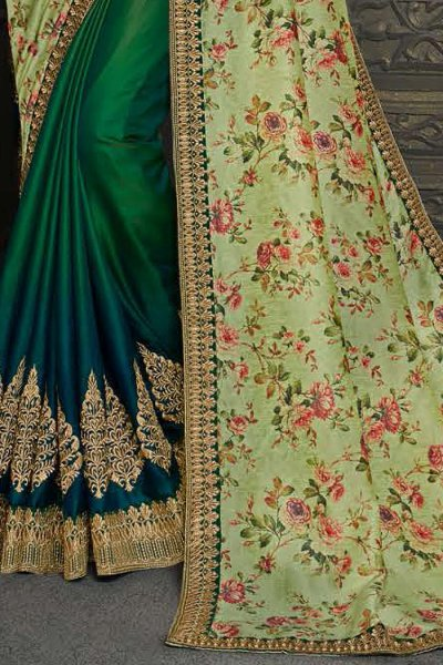 Designer Silk Saree in Shades of Green