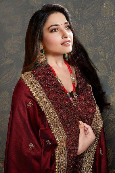 Red Wine Designer Silk Saree