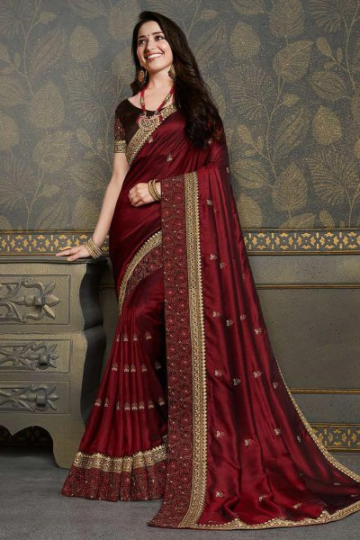 Red Wine Designer Silk Saree