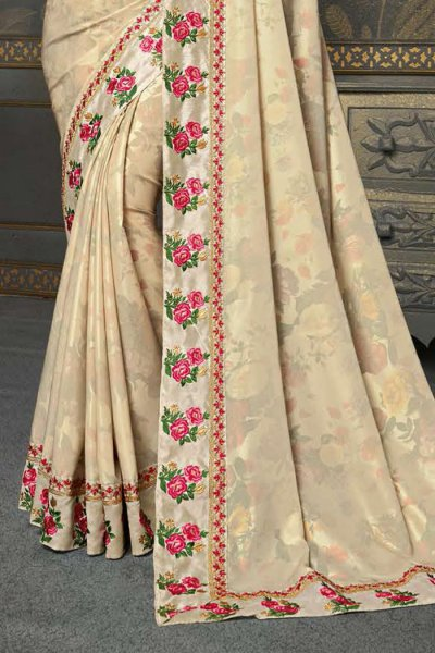 Beige Silk Embroidered Saree