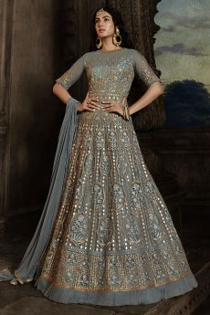 Beautiful Steel Blue Embroidered Anarkali Suit in Net