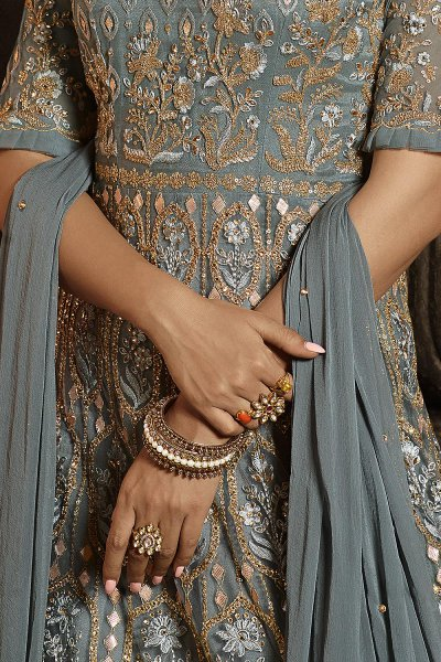 Beautiful Steel Blue Embroidered Anarkali Suit in Net
