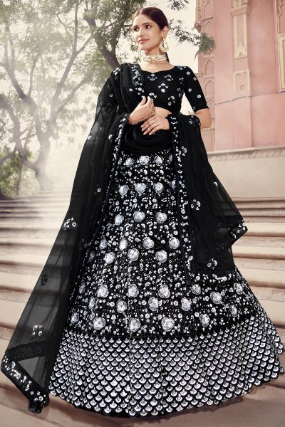 Black & Silver Sequins Lehenga Choli