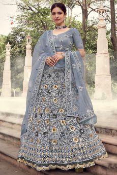 Grey Partywear Lehenga Choli with Sequins Work