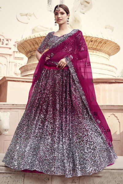 Wine Party Wear Lehenga Choli with Embellished Sequins
