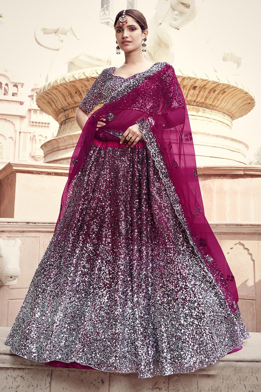 Wine Party Wear Lehenga Choli with Embellished Sequins