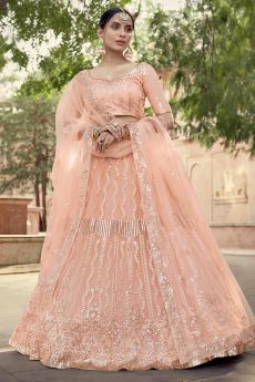 Peach Party Wear Lehenga Choli with Sequins Work