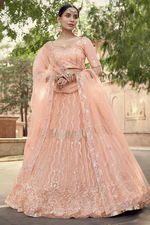 Peach Party Wear Lehenga Choli with Sequins Work