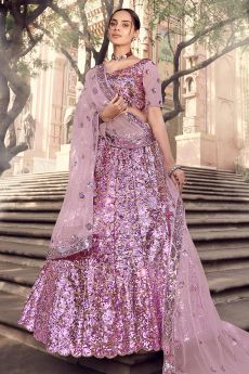 Shimmery Lilac Party Wear Lehenga Choli with Embellished Sequins